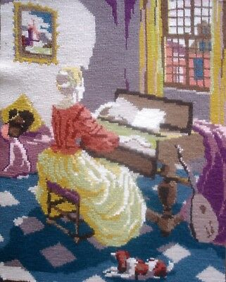 Vintage Tapestry Cross Stitch Picture Unframed The Music Room