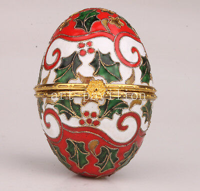 Cloisonne Statue Figurine Handmade Crafts Gift Box Old Egg Collection