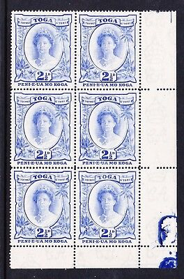 TONGA 1942-49 2½d BRIGHT ULTRAMARNE WITH WIDE 'D' VARIETY CW 6a MNH.