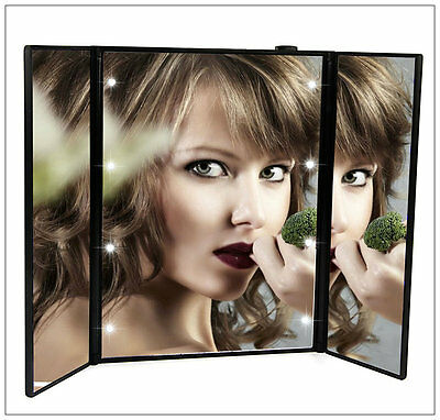 8 LED Light up Compact Folding Bathroom Make Up Cosmetic Mirror STOCKING FILLER
