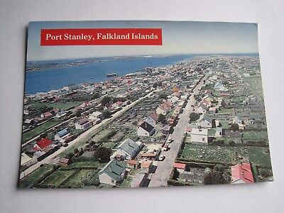 Port Stanley Falkland Islands aerial view sent postcard