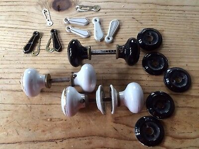 3 Pair Of Vintage Door Knobs & Escutcheons