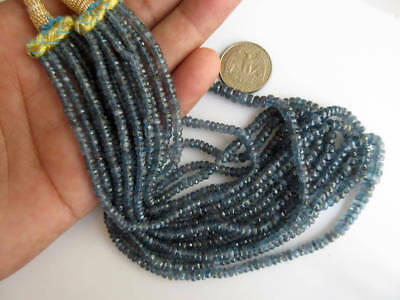 Multi Strand Teal Blue Moss Kyanite Necklace Blue Kyanite Faceted Rondelle Beads