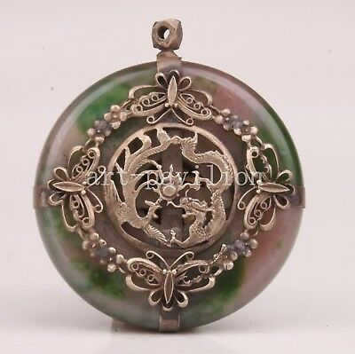 Tibet Silver Jade Statue Pendant Collectable Figurine Inlay Longfeng Crafts Gift