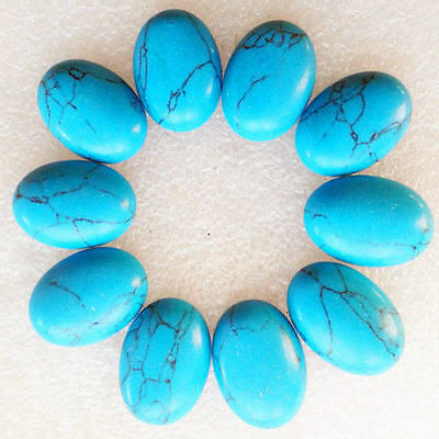 LARGE 20x15mm OVAL CABOCHON-CUT NATURAL CHINESE TURQUOISE GEMSTONE
