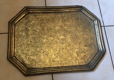 Antique Vintage Islamic Indo Persian Mughal Engraved Etched Figural Brass Tray