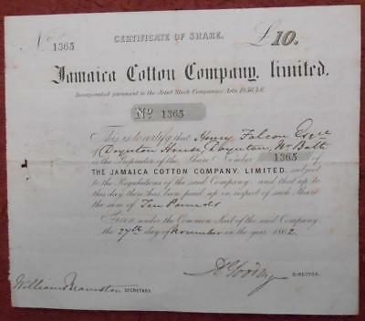 31325 JAMAICA 1862 Jamaica Cotton £10 share certificate