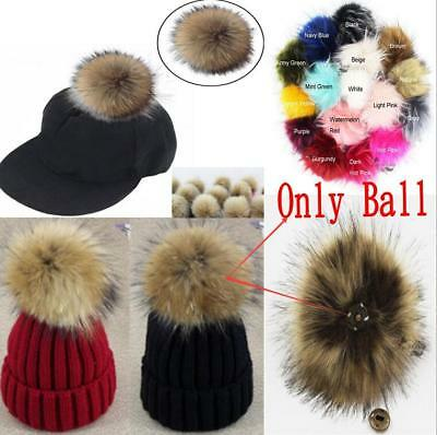 1pc 5inch Large Faux Raccoon Fur Pom Pom Ball with Press Button