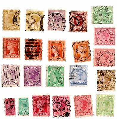 Australian State Victoria Collection 22 Stamps (Unsorted wmks / Perfs) Used