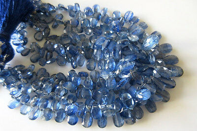 """Kyanite Briolettes Faceted Pear Beads 5x6mm To 12x7mm 30 Pieces Approx 4"""" Strand"""