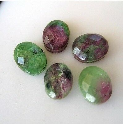 10 Pieces Natural Ruby Zoisite Oval Shaped Cabochon Faceted 7x9mm Each - BB145