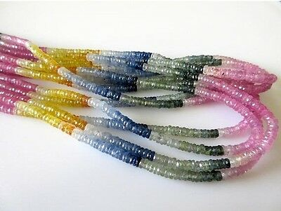 Multi Sapphire Faceted Tyre Rondelle Beads 3mm Sapphire Beads 17 Inch GDS687