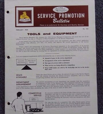 """Holden """"Service Promotion Bulletin"""" February 1969 Very Rare - Good Condition!"""