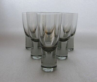Holmegaard CANADA smoked glass ~ set of six shot glasses ~ pristine condition