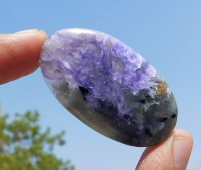 Russian  68.25 Cts Exclusive A+++ Charoite 50X29X5Mm  Loose Cabochon