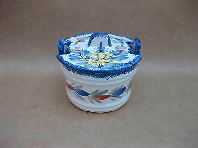 Quimper Butter Tub / Preserve Pot ~ Barrel Shape ~ Lidded Pot ~ Faience