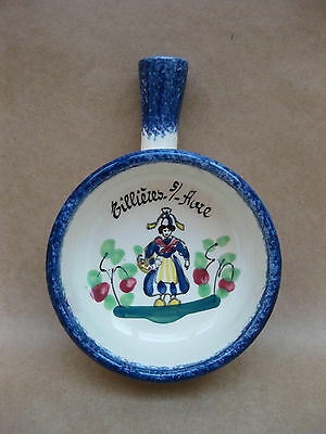 Faience Small Bowl With Handle ~ Peint Main ~ Miniature Skillet  ~ French