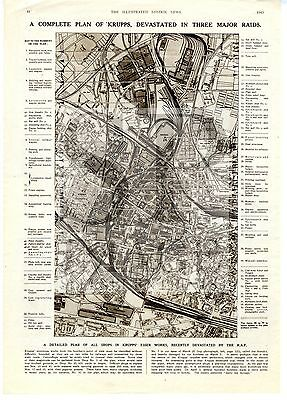1943 MAP Plan KRUPPS ESSEN WORKS Armaments FACTORY Germany WW2 PRINT