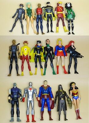"LOT OF 17 DC UNIVERSE YOUNG JUSTICE JLU robin batgirl supergirl FIGURE 4"" #jh7"