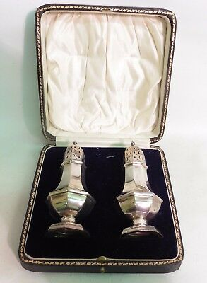 Pair Of Solid Silver Pepper Pots By William Hutton & Sons, H/m Birmingham 1920