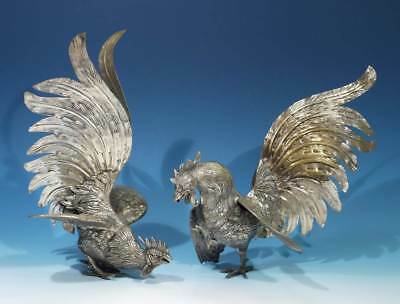 Pair of Vintage Silver Plated Fighting Cockerels.