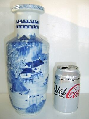 Large Antique Chinese 19th Century Rouleau Blue White Vase STUNNING EXAMPLE