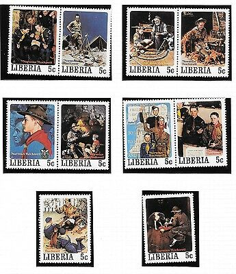 Liberia-1979-Rockwell-Boy-Scouts-complete-set-of-50 unmounted mint
