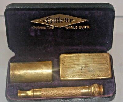 1930s POCKET EDITION GILLETTE 9ct GOLD PLATE SAFETY RAZOR AND CASE OPEN COMB