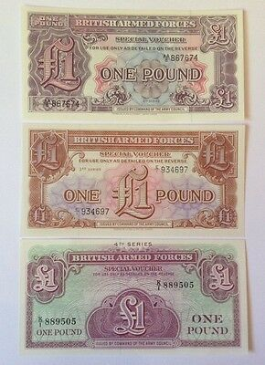 3 X British Armed Forces Banknotes. One Pound. 2Nd, 3rd, 4th Series