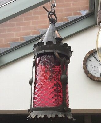 Stylish Arts And Crafts Copper And Cranberry Glass Hanging Lantern