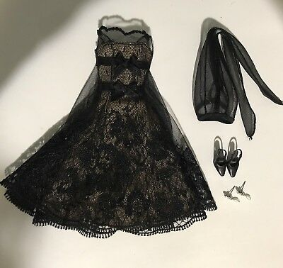 Barbie Silkstone Black Cocktail Dress Outfit & Accessories