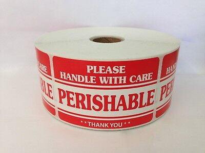 1000 Labels 2x3 PERISHABLE Handle with Care Shipping Mailing Warning Stickers