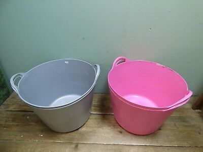 Job Lot Of 4 Grey and Pink Large Plastic Tubs/Buckets With Handles