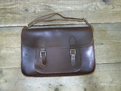 Vintage Brown Leather Buckle Up Satchel Bag