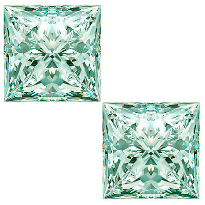 1.56ct VVS1-2pc/5.08MM WHITE ICE COLOR PAIR LOOSE PRINCESS CUT MOISSANITE PAIR
