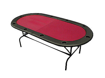 Professional Folding Poker Table with Legs - Casino Red Speed Cloth 10 Player