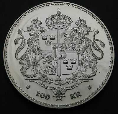 SWEDEN 200 Kronor ND(1993) - Silver - 50th Birthday of Queen Silvia - aUNC - 216