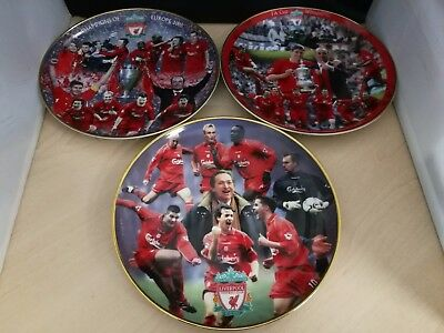 3 x Commemorative Liverpool FC Fine Porcelain Plates By Rob Perry
