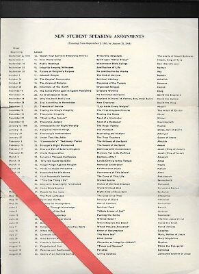 Watchtower: New Student Speaking Assignments - sheet - 1946  1 p.p.