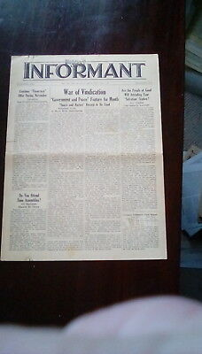 Watchtower: The Informant -  November 1939 2pp edition
