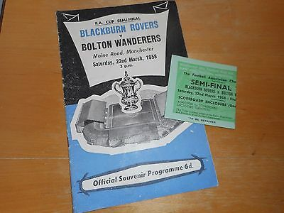 BLACKBURN ROVERS  v  BOLTON WANDERERS  1958 F A CUP S/ FINAL MANCHESTER + TICKET