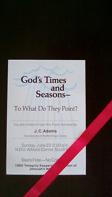 Watchtower: Public Talk – God's Times and Seasons ... - USA  1985