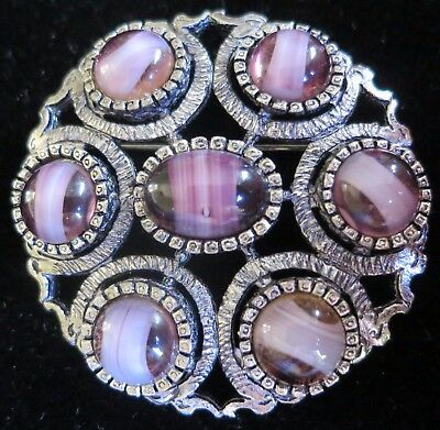 Lovely Vintage 60's Brooch Set With Purple Glass Stones Miracle Style (6462)