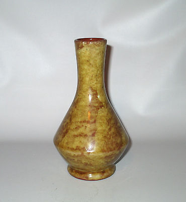 "Bermuda Pottery Bud Vase Mottled Yellow Glaze  6"" Signed Red Ware"