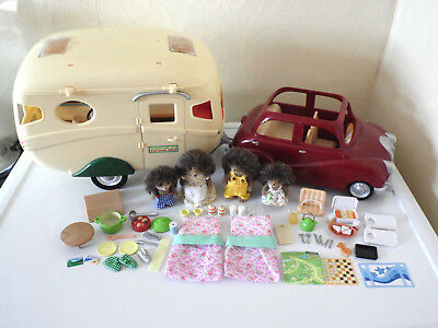 Sylvanian Families The Car & Caravan Set with Hedgehog Family & Accessories