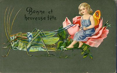 FANTASY FAIRY in ROSE CART is pulling by LOCUSTs c1910 RARE !!!
