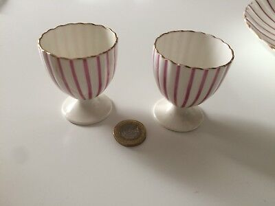 Coalport Egg Cups Pink And White