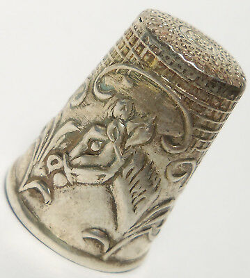 Vintage Sterling Silver Thimble HORSE & EMBOSSED DESIGNS Large! Signed!