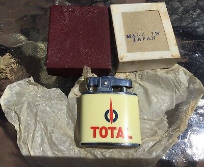 RARE VINTAGE TOTAL OIL COMPANY BRANDED CIGARETTE LIGHTER by BROTHER *NOS IN BOX!