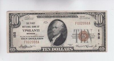 National Currency $10 1929-I Ypsilanti Michigan vf stain
